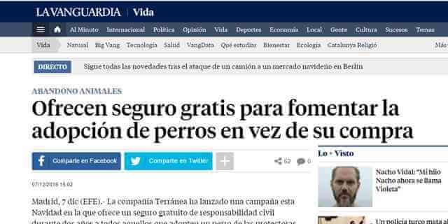 Terránea ADOPTA UN PERRO en La Vanguardia