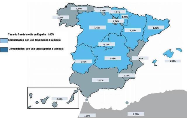 Imagen del mapa del fraude al seguro en España