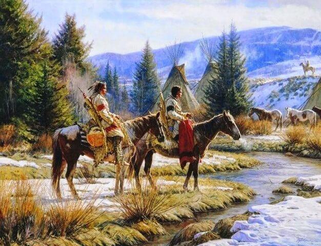 Indios subidos a lomos de caballos mustang en una pintura que representa el viejo oeste
