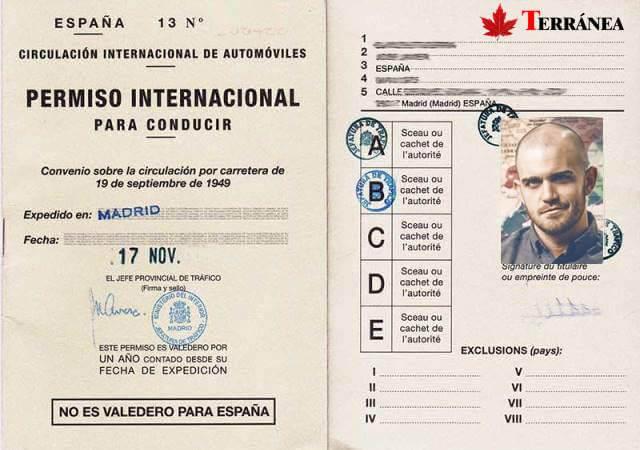 Ejemplo de cómo es el carnet de conducir internacional o permiso internacional para conducir