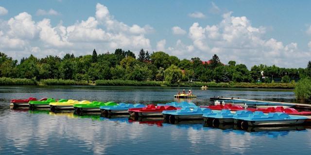 Numerosas barcas a pedales en una laguna.