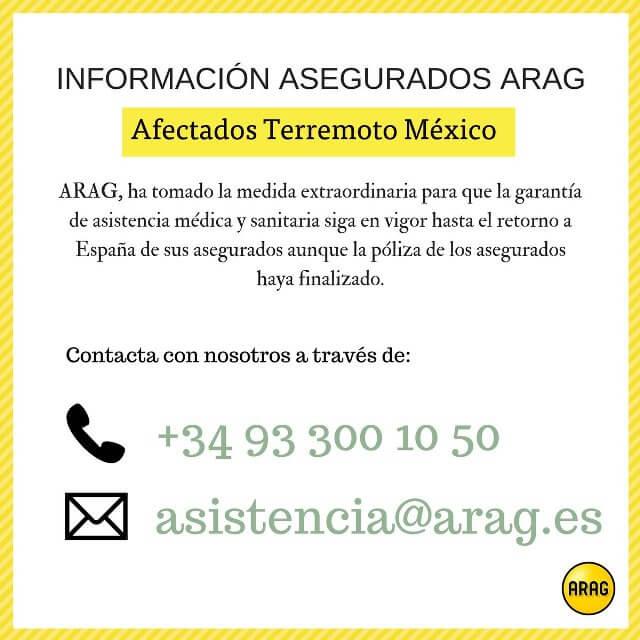 MENSAJE DE ARAG PARA LOS AFECTADOS POR EL TERREMOTO DE MÉXICO