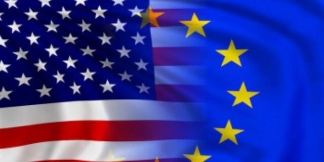 Banderas EEUU y UE unidas