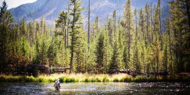 Hombre pescando en un río.