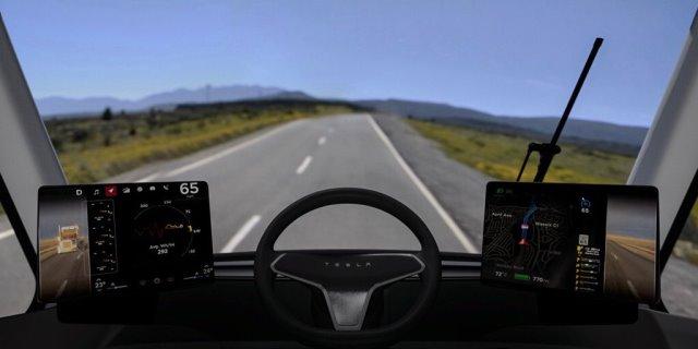 Vista interior de la cabina del Tesla Semi Truck