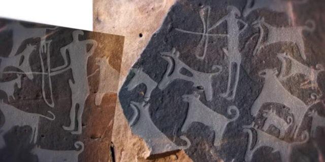 Grabados de hace 8.000 años con perros de caza