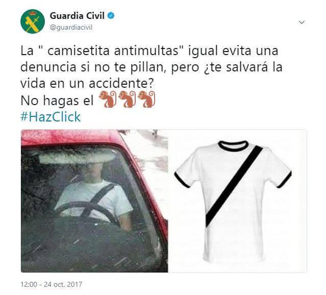 Twet de la Guardia Civil denunciando las camisetas antimultas.