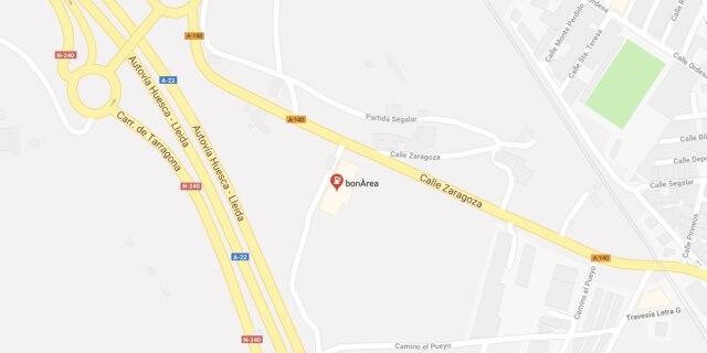 Localización de la gasolinera BONAREA en Binefar.