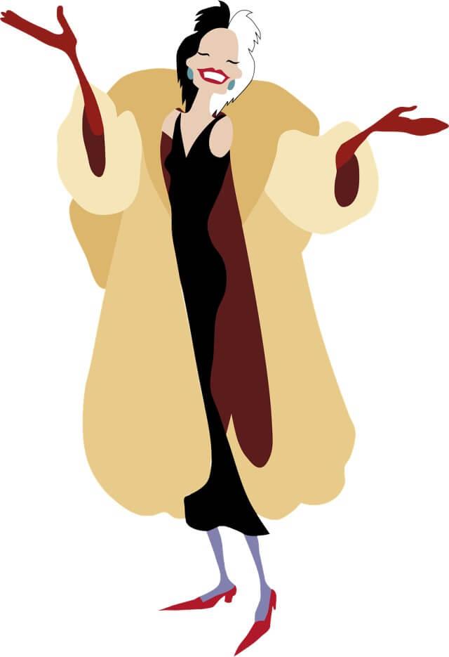 Cruella de Vil, la villana de 101 Dálmatas.