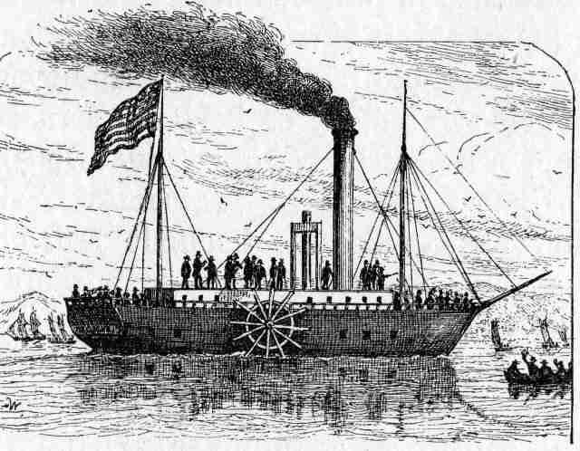 El Clermont, el primer barco a vapor del mundo.