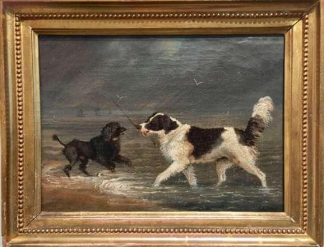 Representación artística con dos perros