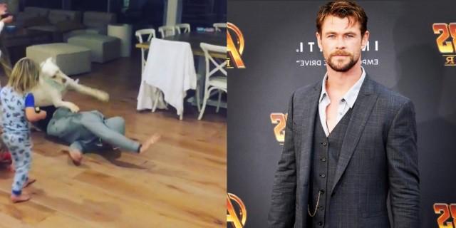 Chris Hemsworth bailando con su perro (Fotos.: Twitter).