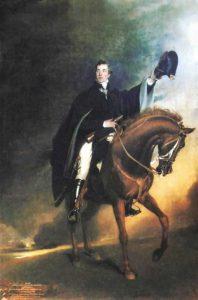 El duque de Wellington a lomos de su caballo Copenhagen