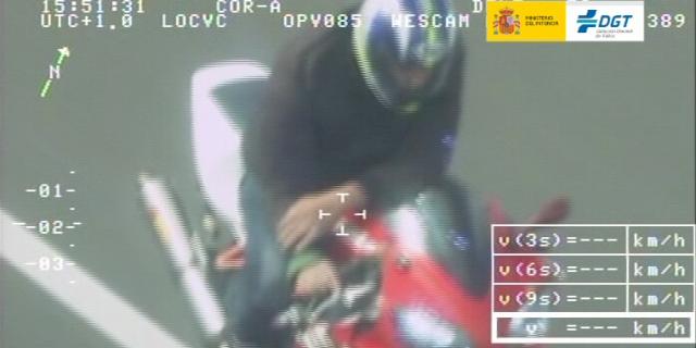 Uno de los motoristas alcanzados por un radar de la DGT circulando con exceso de velocidad
