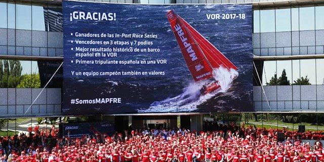 recibimiento equipo MAPFRE a su vuelta de la Volvo Ocean Race