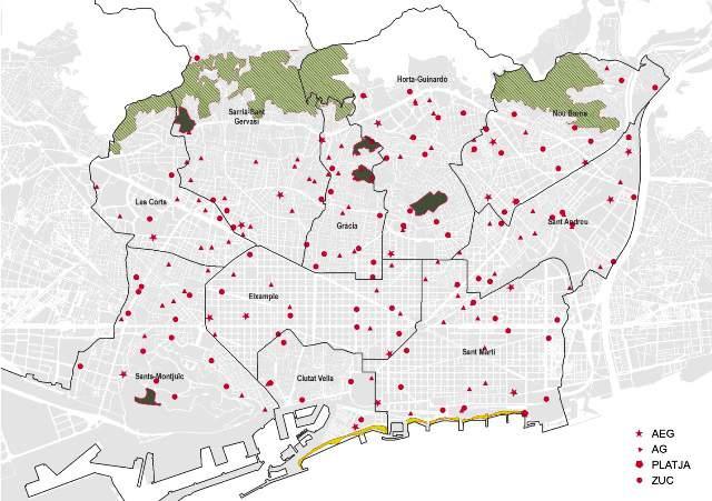 Plano de Barcelona con las zonas para llevar a los perros sueltos.