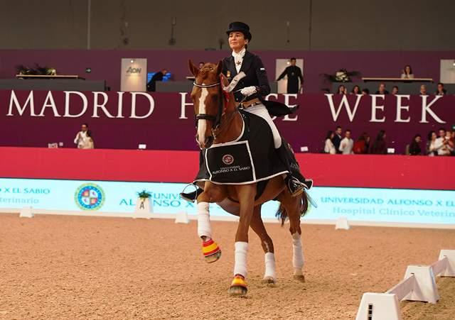 Jinete monta en el Salón del Caballo de la Madrid Horse Week.