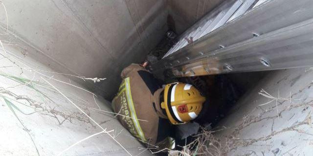 un agente de los bomberos descendiendo al pozo para rescatar al perro del fondo del pozo