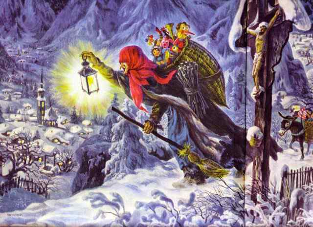 La Befana, personaje navideño principal en Italia.