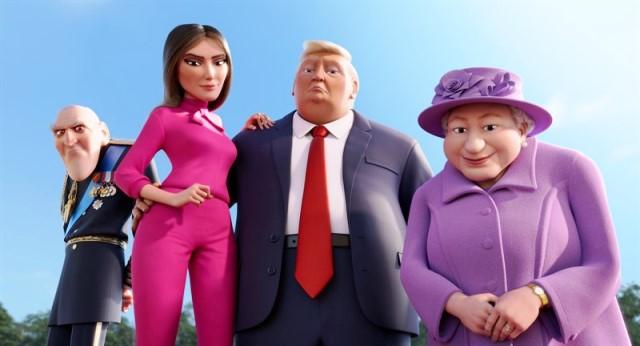 Trump, Melania y la Reina Isabel II, en una imagen de la película.