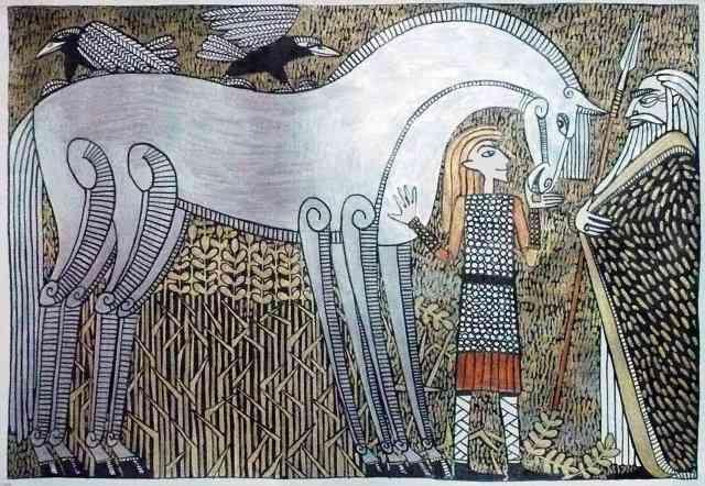 Loki entrega Sleipnir a Odín