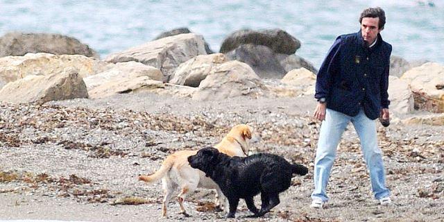 aznar con sus perros golden