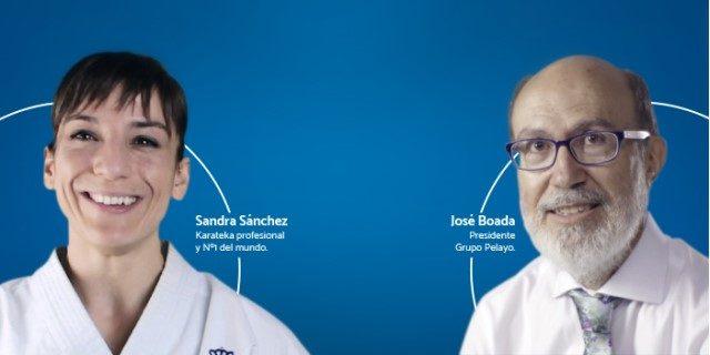 charla Boada y Sandra Sánchez, campeona del mundo de kárate