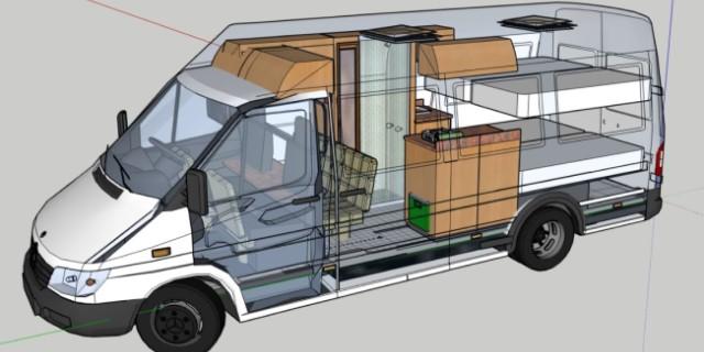 planos 3D diseño de furgoneta camper